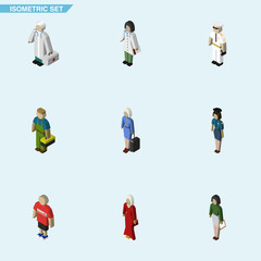 Isometric Person Set Of Guy, Policewoman, Doctor And Other Vector Objects. Also Includes Man, Lady, Teacher Elements.
