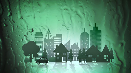 Green Eco City on Abstract Water Background
