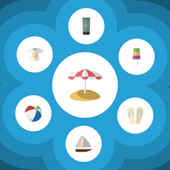 Flat Icon Season Set Of Beach Sandals , Sundae, Parasol Vector Objects. Also Includes Round, Ball, Cream Elements.