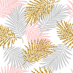 Tropical seamless pattern with monstera and palm leaves and golden glitter texture. Vector illustration
