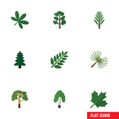 Flat Icon Natural Set Of Timber, Wood, Oaken And Other Vector Objects. Also Includes Forest, Wood, Tree Elements.
