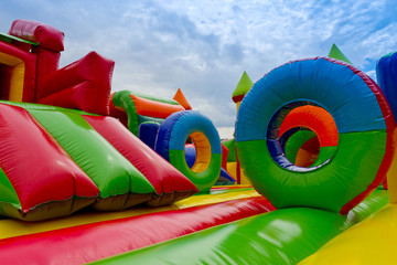 Inside inflatable, colorful castle in playground