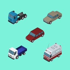 Isometric Automobile Set Of Lorry, First-Aid, Car And Other Vector Objects. Also Includes Motor, Transport, Drive Elements.
