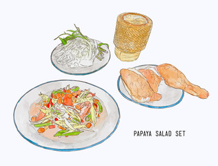 papaya salad or som-tum with grilled chicken and sticky rice .hand drawn water color sketch vector.