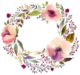Watercolor illustration with amazing floral wreath