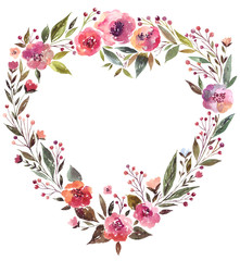 Watercolor illustration with amazing floral wreath in the form of the heart