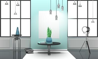 Realistic Loft Interior In Light Tones