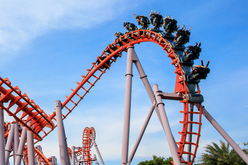 Fotobehang Amusementspark Roller Coaster at amusement park of Bangkok, Thailand.
