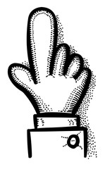Cartoon image of Click Icon. Hand pointer symbol. An artistic freehand picture.
