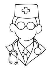 Cartoon image of Doctor Icon. Physician symbol. An artistic freehand picture.