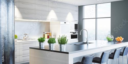 Cucina nuova moderna, arredamento casa, 3d render\