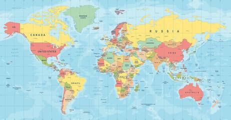 Spoed Foto op Canvas Wereldkaart World Map Vector. Detailed illustration of worldmap