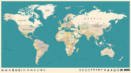 Spoed Foto op Canvas Wereldkaart World Map Vector Vintage. Detailed illustration of worldmap