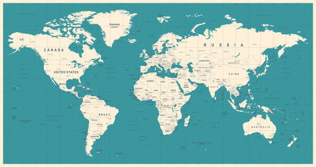 Foto op Aluminium Wereldkaart World Map Vintage Vector. Detailed illustration of worldmap