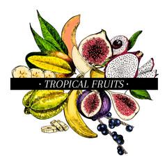 Vector hand drawn smoothie bowls poster. Exotic engraved fruits. Colored icons. Banana, mango, papaya, pitaya, acai, lychee, fig, carambola, pitahaya.