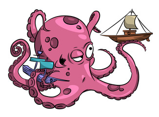 Cartoon image of octopus. An artistic freehand picture.
