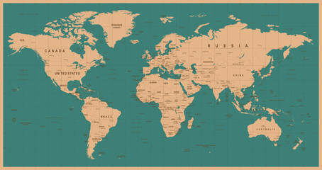 Spoed Fotobehang Wereldkaart World Map Vector Vintage. Detailed illustration of worldmap