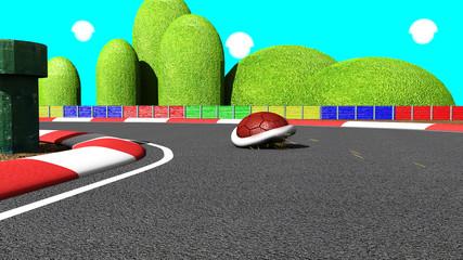 Red turtle in kart racing