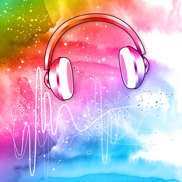 headphones on colorful background