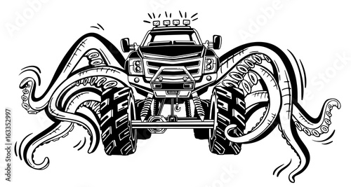 """""""Vector Monster truck with tentacles of the mollusk ..."""
