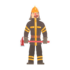 Firefighter in safety helmet and protective suit standing with axe cartoon character vector Illustration