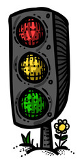 Cartoon image of Traffic Light. An artistic freehand picture.