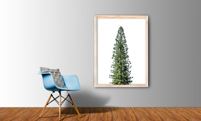 pine tree in White Blank Poster in concrete floor room