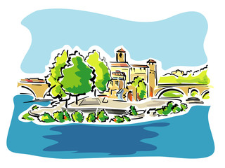 Vector illustration of Tiber Island in Rome Italy