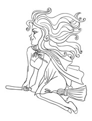 Cartoon image of witch riding broomstick. An artistic freehand picture.