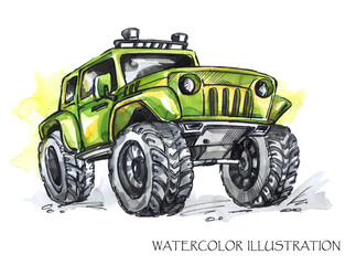 Hand drawn card with big car. Watercolor multicolor illustration. Active crazy sport. Transport.