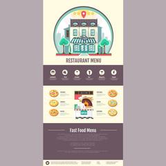 Flat style pizzeria cafe design. Web site design. Pizza menu