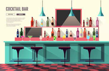 Flat style interior of cocktail bar. Web site design. Cocktail menu