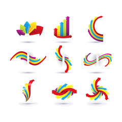 Set of minimal arrow multicolor symbol set and shapes. Trendy hipster icons and logotypes. Business signs, labels, badges, frames and borders