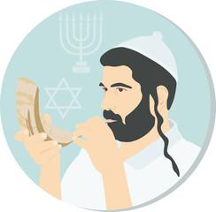 Avtar, symbol in the circle of Ortodox Jew, Hasid, Rabbi with a ram's horn. Jewish attributes of Judaism. Celebrating Jewish holidays Hanukkah, Rosh Hashanah. Menorah, the star of David. AI10