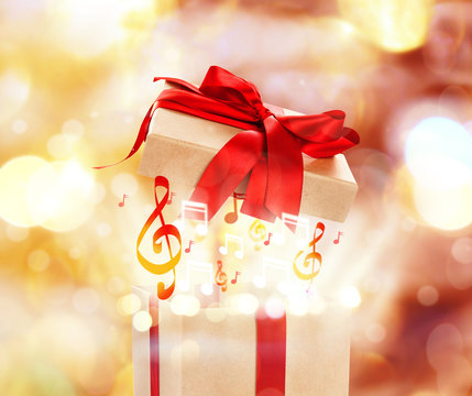 Beautiful present on bright background. Holiday celebration concept
