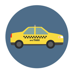 Vector llustration of New York city Taxi trendy flat style
