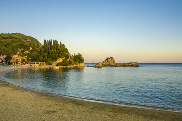 Parga, Greece - sunset - city beach