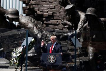 US. President Donald Trump gives a public speech at Krasinski Square, in Warsaw