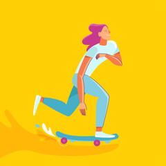 Vector summer illustration in modern trendy flat linear style - happy girl skateboarding