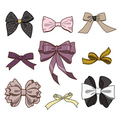 Fashion collection of bows. Vector colorful illustration in rustic style