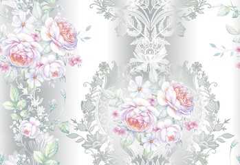Seamless pattern with white roses 2