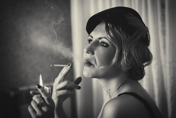Vintage woman portrait with cigarette