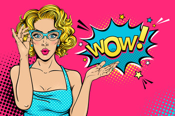 Wow female face. Sexy surprised young woman in glasses with open mouth and blonde curly hair and speech bubble. Vector bright background in pop art retro comic style. Party invitation poster.