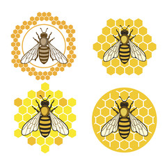Honey bee set. Honey bee set. Vector. Set of honey and bee labels for honey logo products. Isolated insect icon. Flying bee. Flat style vector illustration.