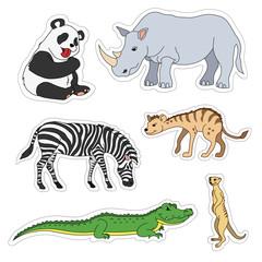 Set of various cute animals, stickers of safari animals. Panda, zebra, alligator, crocodile, gopher, rhinoceros, rhino, hyena