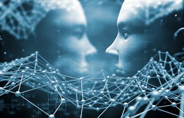 Fondo abstracto de tecnologia y ciencia. Concepto de inteligencia artificial e  informática.Cara de ciborg y robotica