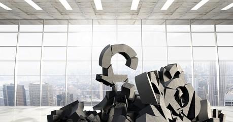 3D Broken concrete stone with money pound symbol in cityscape