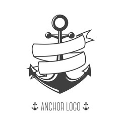 Anchor logo. Vintage Logotypes or insignias set. Vector design elements, business signs, logos, identity, labels, badges, apparel, ribbons, stickers and other branding objects. Vector Illustration.