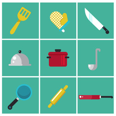 Trendy flat kitchen icons. Set of cooking icons. Chefs elements for info graphic. Vector illustration