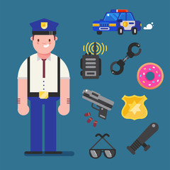 Policeman character design with policeman icons set. Cop elements for info graphic. Vector illustration